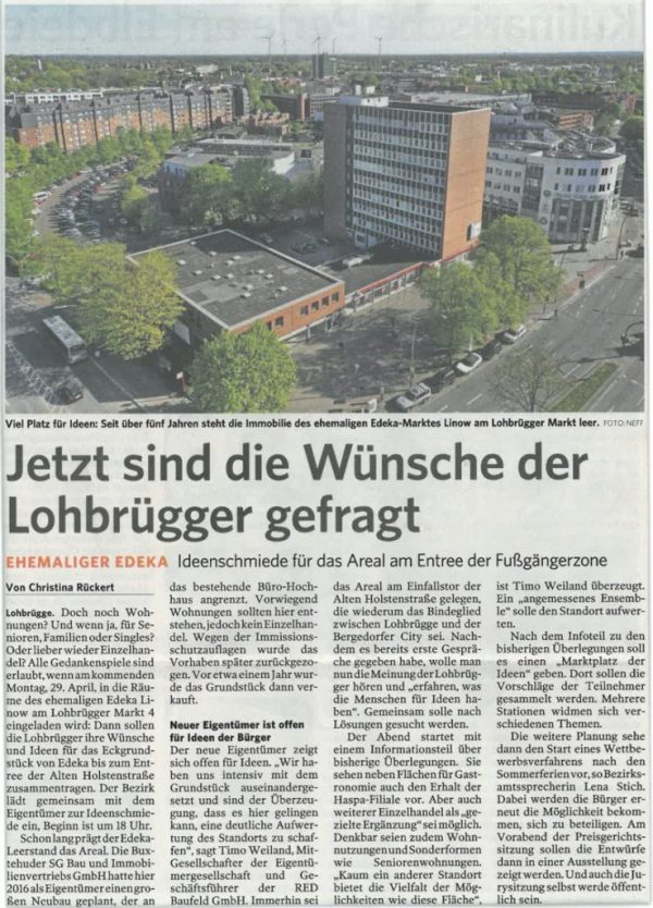 """Now the wishes of the citizens of Lohbrügge are in demand. Planning a 2500 sqm plot in Hamburg."""