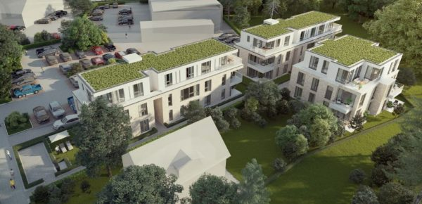 Bau einer hochwertigen seniorengerechten Wohnanlage in der Schenefelder Landstraße 174, 22589 Hamburg. Drei Mehrfamilienhäuser bieten Platz für insgesamt 20  2 bis 3-Zimmer- und eine 4-Zimmerwohnung sowie 16 Tiefgaragenstellplätze.
