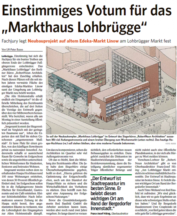 "Together with international private investors, oneVest is a partner of RED Baufeld GmbH in the planned new building project ""Markthaus Lohbrügge"". The winning design by the Berlin architects ROBERTNEUN is the basis for the upcoming development plan process, on the basis of which over 100 new apartments and ground floor areas for retail and catering will be created in Hamburg Bergedorf."