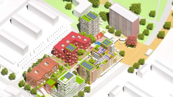 """A green building project for Jenfeld """"The new heart for Jenfeld: high, colorful and ecological"""""""